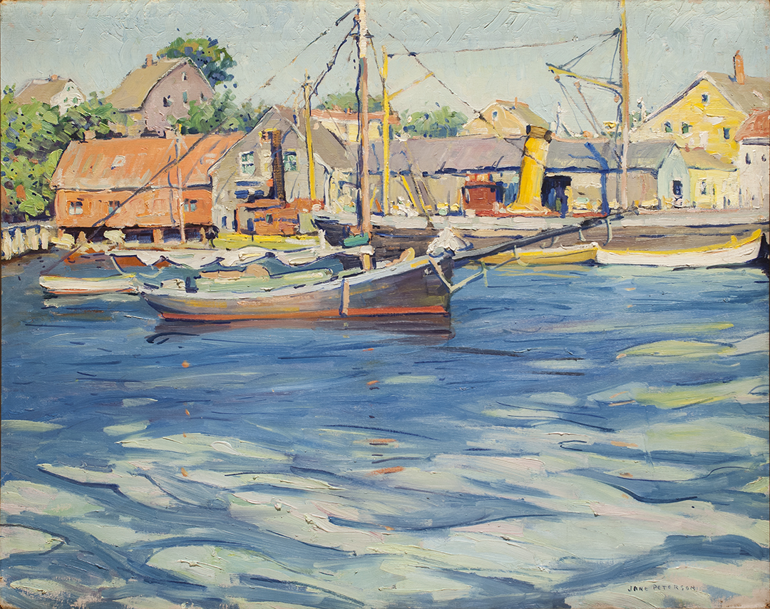 Fishing boats at dock university of maryland art gallery for Fishing boat painting